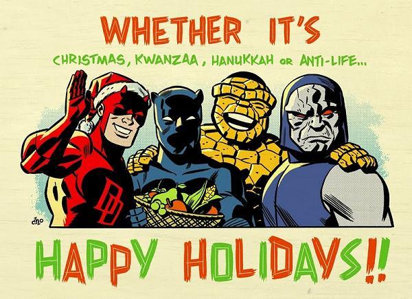 """Daredevil, Black Panther, Ben Grimm and Darkseid show their """"Holiday"""" spirit."""