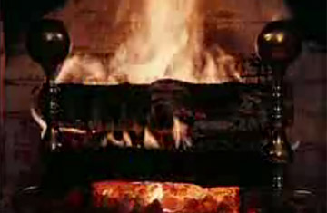 An image of the classic Yule Log as shown on WPIX during the Christmas holiday.