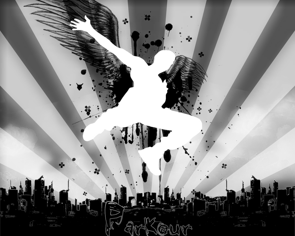 Parkour Wallpaper featuring graffiti inspired design and a jumping man with wings.