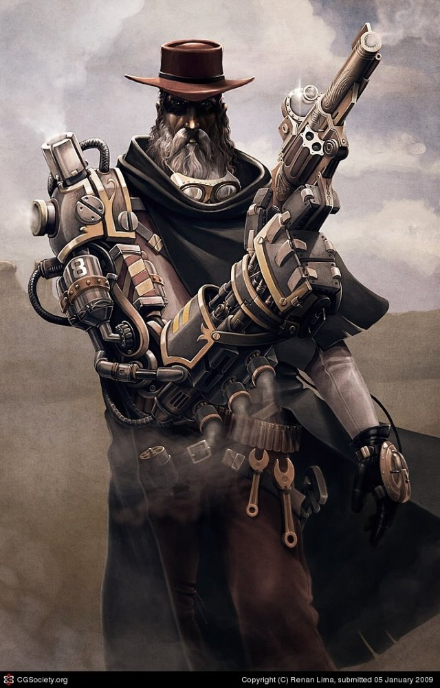 Steampunk Gunslinger who likes quite a bit like a modified Gandalf.