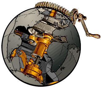 Steampunk World's Fair Globe Logo