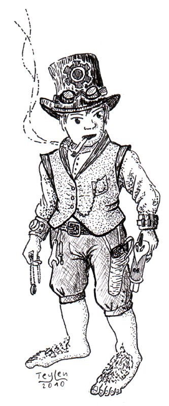 A ring-bearing, gun-toting, cigarette smoking Frodo with a steampunk feel.