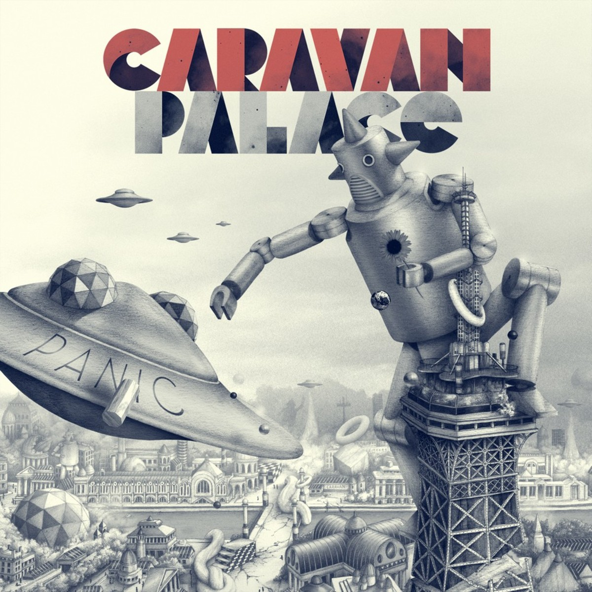 Cover art to Caravan Palace's 2012 electro swing album Panic.