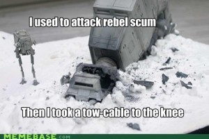 Star Wars AT-AT tow-cable parody of Skyrim's Arrow to the knee.