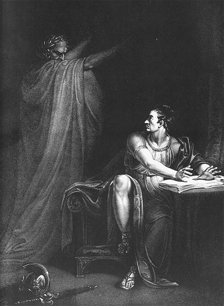 Copperplate engraving by Edward Scriven of the painting Brutus and the Ghost of Caesar.